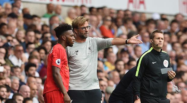 LONDON, ENGLAND - AUGUST 27: (THE SUN OUT, THE SUN ON SUNDAY OUT) Jugen Klopp manager of Liverpool with Daniel Sturridge during the Premier League match between Tottenham Hotspur and Liverpool at White Hart Lane on August 27, 2016 in London, England. (Photo by John Powell/Liverpool FC via Getty Images)