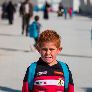 A Syrian refugee child at school in Nizip 1 camp outside Gaziantep, Turkey on the Syrian border. Pic:Mark Condren