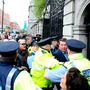 Water protesters shout at former minister Alan Kelly as he walks into Leinster House in May Photo: Sam Boal/Rollingnews.ie