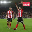SUNDERLAND, ENGLAND - DECEMBER 03: Jermain Defoe celebrates scoring the second goal for Sunderland during the Premier League match between Sunderland and Leicester City at Stadium of Light on December 3, 2016 in Sunderland, England. (Photo by Ian Horrocks/Sunderland AFC via Getty Images)