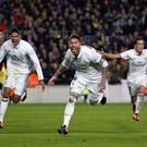 BARCELONA, SPAIN - DECEMBER 03: Sergio Ramos (C) of Real Madrid celebrates after scoring the equalising goal during the La Liga match between FC Barcelona and Real Madrid CF at Camp Nou on December 3, 2016 in Barcelona, Spain. (Photo by Angel Martinez/Real Madrid via Getty Images)