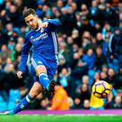 Chelsea's Eden Hazard scores his team's third goal against Man City last Saturday. Photo: Getty