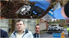 Top: A garda forensics officer removes a gun from near the scene. Left: Mark Desmond and, right, a car found burnt out nearby