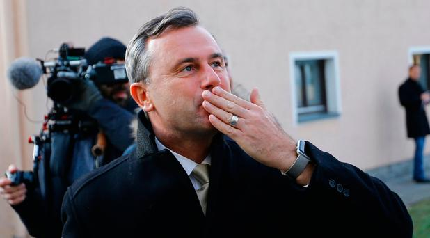 Austrian far-right Freedom Party (FPOe) presidential candidate Norbert Hofer reacts in Pinkafeld, Austria, December 4, 2016. REUTERS/Leonhard Foeger