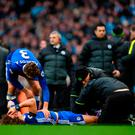 David Luiz is treated after the Aguero tackle