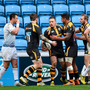 Wasps' out-half Jimmy Gopperth is congratulated after scoring one of his side's seven tries against Leinster at the Ricoh Arena last January. Photo: Stephen McCarthy / Sportsfile