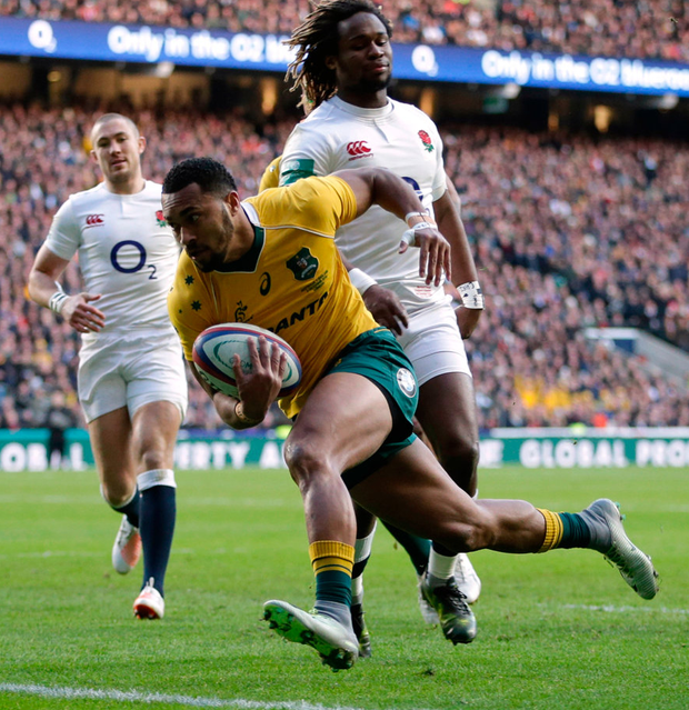 Sefa Naivalu scores Australia's first try. Photo: Henry Browne/Reuters