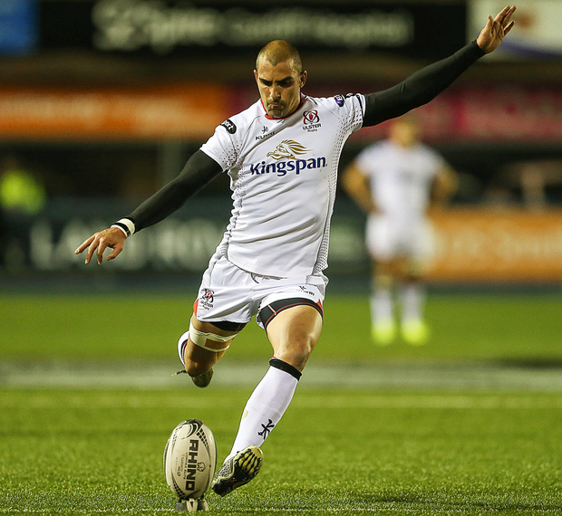 Ulster's Ruan Pienaar kicks a conversion during the Guinness PRO12 match. Photo: Chris Fairweather/Sportsfile