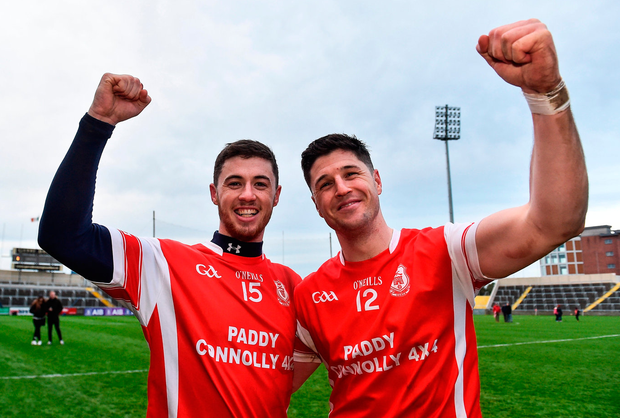 Brothers Sean (left) and David Treacy of Cuala celebrate after victory in the AIB Leinster Club SHC final against O'Loughlin Gaels at O'Moore Park