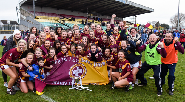 The St. Maurs team celebrate after the All Ireland Junior Club Championship Final 2016 match between Kinsale and St. Maurs. Photo: Matt Browne/Sportsfile