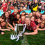 Annaghdown players celebrate with the cup following the All Ireland Ladies Football Intermediate Club Championship Final against Shane ONeills. Photo: Sam Barnes/Sportsfile