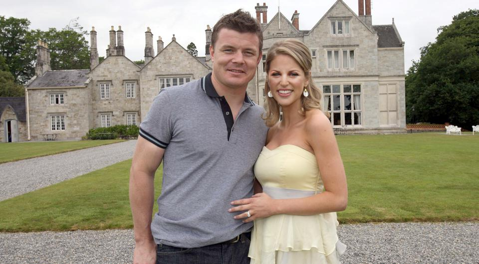 Brian O'Driscoll and Amy Huberman at Lough Rynn Castle in Co Leitrim the day after their wedding Picture: PA
