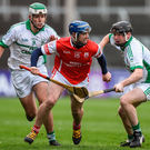 Sean Treacy of Cuala in action against Paddy Deegan, left, and Eddie Kearns of O'Loughlin Gaels during the AIB Leinster GAA Hurling Senior Club Championship Final. Photo: David Maher/Sportsfile