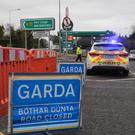 A Garda checkpoint at the fatal road traffic accident on the N72 outside Dungarvan, Co Waterford Picture: Patrick Browne