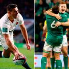 Ben Youngs of England and (right) Ireland's Paddy Jackson and CJ Stander