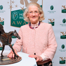 Maureen Mullins after being presented with the HRI's Contribution to the Industry award at Leopardstown. Photo: Piaras Ó Mídheach/Sportsfile
