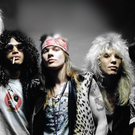 The classic Guns N' Roses line-up including Slash and Axl Rose (second and third from left)