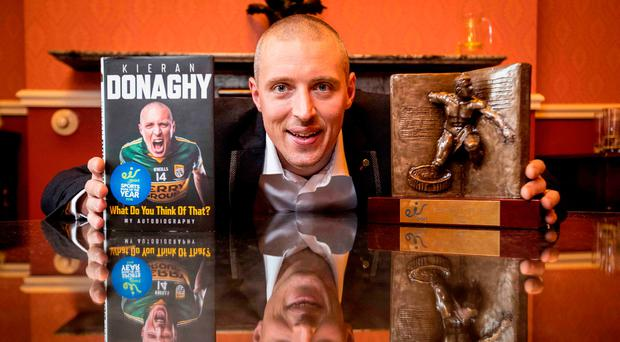 Kieran Donaghy's autobiography What Do You Think Of That was yesterday unveiled as the winner of the eir Sport Sports Book of the Year, for which he receives a €1,500 cash prize, a specially commissioned trophy and €10,000 worth of TV advertising on the eir Sport channels. Photo: INPHO/Morgan Treacy