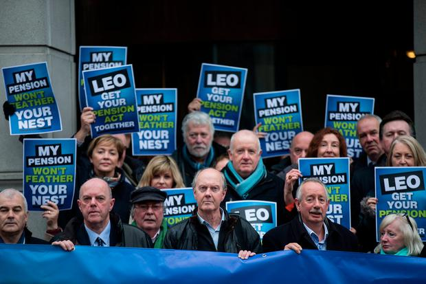 Members of the NUJ and Siptu protesting outside the EGM. Photo: Mark Condren