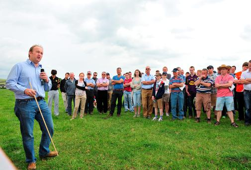 Teagasc's Laurence Shalloo addressing farmers during Greenfields Farm open day at Clara, Co Kilkenny. Photo: Roger Jones.