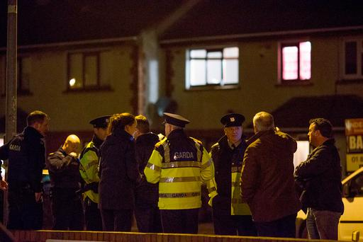 Gardaí at the scene of the shooting at Parlickstown Drive in Mulhuddart, Dublin. Photo: Arthur Carron