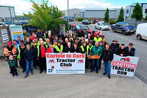 The Carlow to Cork tractor club supporters pictured setting off from Bagenalstown. To date the club has raised over €200,000 for Crumlin Children's Hospital. Photo: Roger Jones