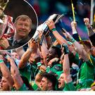 Connacht celebrate last year's PRO12 win and (inset) Alex Ferguson with one of his many trophies