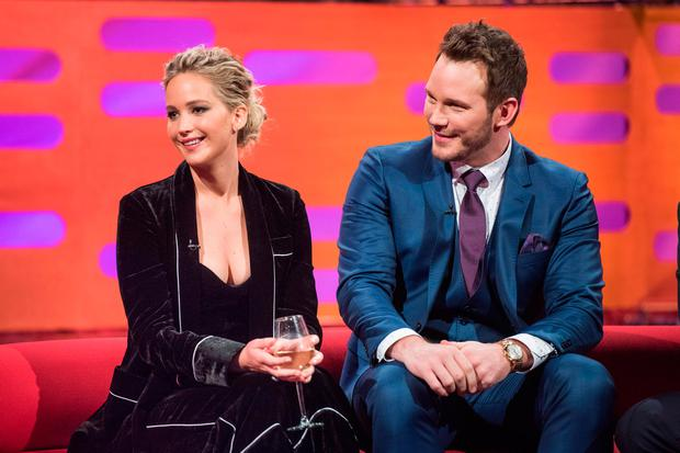 Jennifer Lawrence, Chris Pratt , during the filming of the Graham Norton Show at The London Studios, south London, to be aired on BBC One