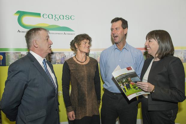 Pictured at the Teagasc National Dairy Conference on 'Technologies for Success' in Rochestown, Cork are speakers Professor Gerry Boyle, Director Teagasc, Anne & Pete Morgan, New Zealand & Anne Marie Butler, Ulster Bank. Photo O'Gorman Photography.
