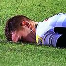 George North lying motionless after the incident at the weekend
