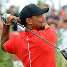 Tiger Woods tees off in the Bahamas on Sunday. Photo: AP
