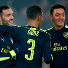Arsenal's Lucas Perez celebrates scoring their second goal with teammates Action Images via Reuters / Andrew Couldridge