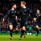 Celtic's Patrick Roberts celebrates scoring their goal with Stuart Armstrong Action Images via Reuters / Jason Cairnduff Livepic EDITORIAL USE ONLY.