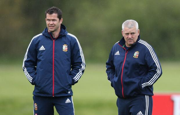Warren Gatland (right) with Andy Farrell during a British and Irish Lions training session