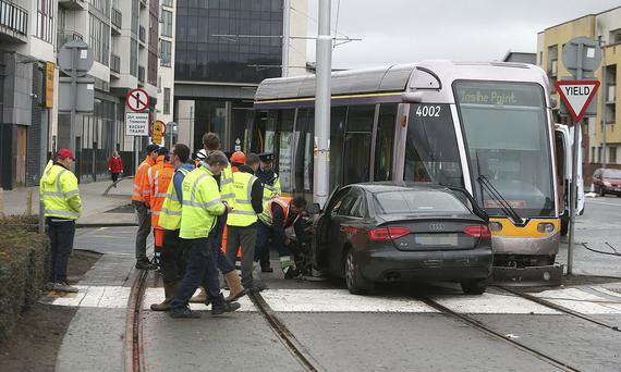 A car and the Luas have collided near Tallaght Hospital in Dublin. Picture credit; Damien Eagers