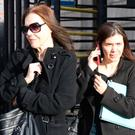 L-R: Laraine and Christa Johnson, with an address at Twin Trees, Nerano Road, Dalkey, Dublin, pictured leaving the Four Courts after Circuit Civil Court hearing.Pic: Collins Courts
