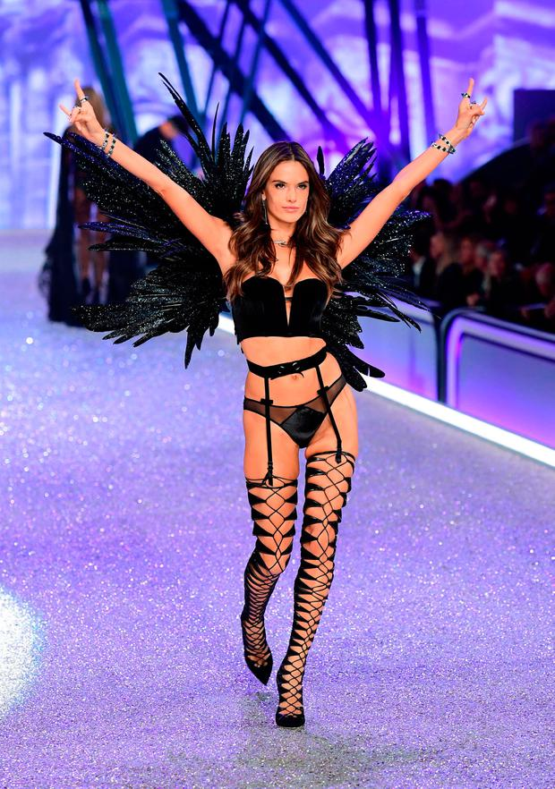 Angel: Alessandra Ambrosio spreads her wings at the Victoria's Secret fashion show in Paris last week