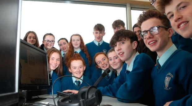 Coláiste Ailigh Transition Year students take part in the Hour of Code at the school in Letterkenny, Co Donegal. Photo: Brian McDaid