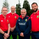 Lions head coach Warren Gatland, second from right, with his coaching team (l-r) Rob Howley, Steve Borthwick and Andy Farrell at Carton House. Photo: Brendan Moran/Sportsfile