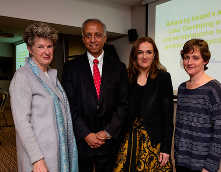 Prof Rebecca Cook, Professor Emeritus Sabaratnam Arulkumaran, Dr Rhona Mahony of Holles Street and Dr Caitriona Henchion at the IFPA meeting. Photo: Arthur Carron
