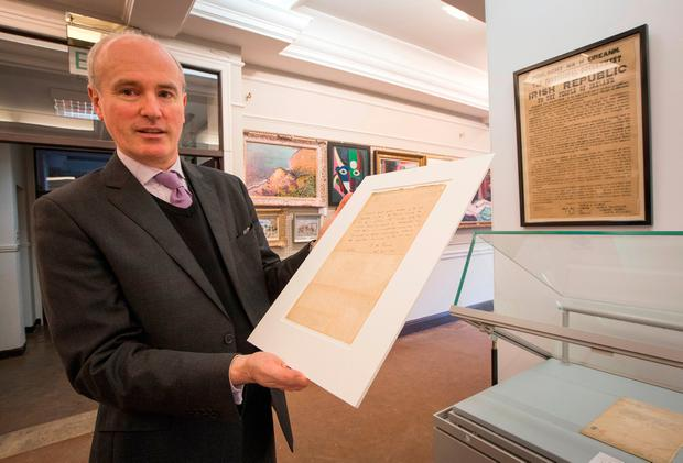 James O'Halloran of Adam's auctioneers with the surrender letter that failed to sell. Photo: Fergal Phillips