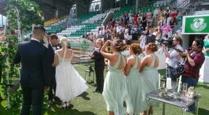Peter and Tracey's Tallaght Stadium ceremony. Pic: RTE / Don't Tell the Bride