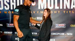 Anthony Joshua and Katie Taylor during the press conference at the Radisson Hotel