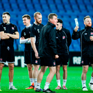 Dundalk manager Stephen Kenny, centre, with his players in Israel