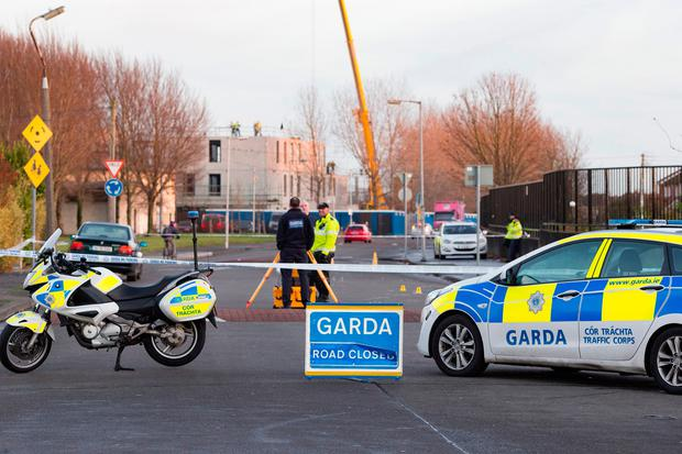 Gardaí in Santry are investigating a Fatal Road Traffic Collision at the junction of Killbarron Park and Cromcastle Road, Coolock involving a car and a motorbike. Picture: Arthur Carron