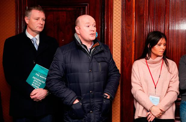 Austin Stack (centre), son of murdered prison officer Brian Stack, at the Sinn Féin press conference in the Davenport Hotel in Dublin where he confronted Gerry Adams. Photo: PA