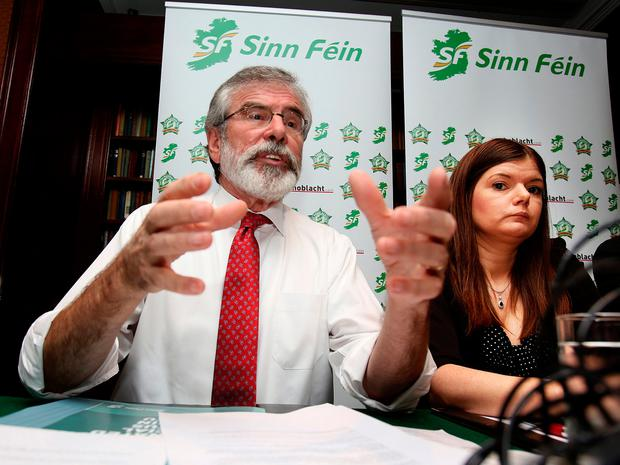 Sinn Féin's Gerry Adams and Kathleen Funchion at the Davenport Hotel in Dublin moments before the confrontation with Austin Stack occurred. Photo: Tom Burke