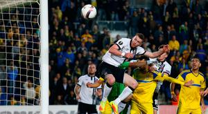 Ciaran Kilduff misses from close-range with a late header that would have earned a point for Dundalk. Photo: Ariel Schalit/AP Photo