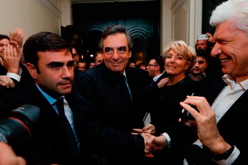 Former French prime minister and candidate for the French right-wing presidential primary Francois Fillon (centre). Photo: Thomas Samson/AFP/Getty Images