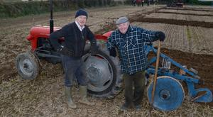 Pictured at the annual ploughing match at Ballyfeard Co Cork was Cyril Collins, Ballinascarthy and Maurice Sheehy from Reenascreena. Picture Denis Boyle